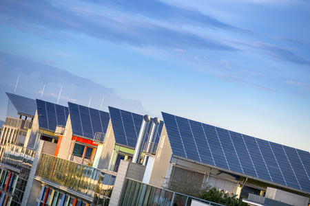 Details of the Sunship ( Sonnenschiff ) in green City, Freiburg. The solar sunship is in the solar village Vauban in Freiburg, Black Forest, Germany. It is known for its use of alternative and renewbale energy. photo