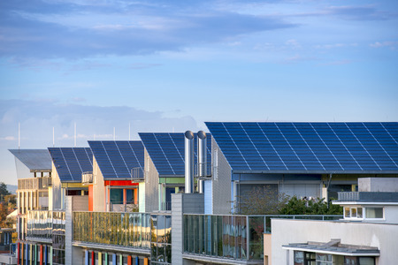 solar panel roof: Details of the Sunship ( Sonnenschiff ) in green City, Freiburg. The solar sunship is in the solar village Vauban in Freiburg, Black Forest, Germany. It is known for its use of alternative and renewbale energy.