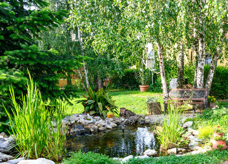 Beautiful Garden With Bench And Little Pond To Relax Фото со стока