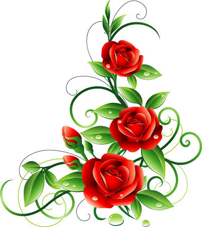 roses pattern: Red roses Illustration