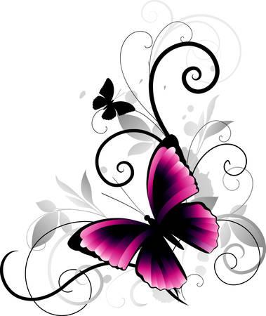 esquineros florales: Adornar con mariposa