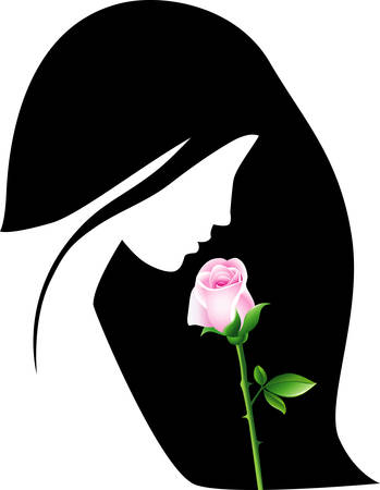 sad face: Girl with rose