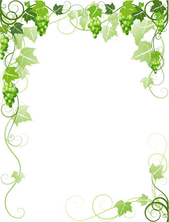 Frame with grapes Vector