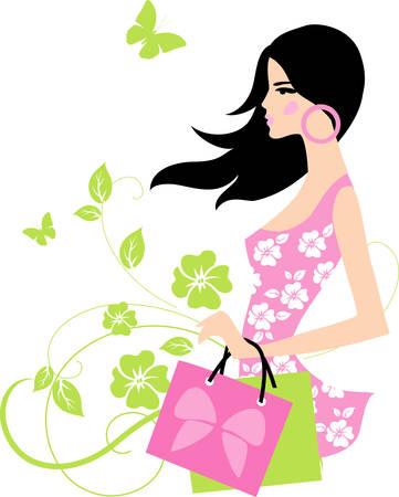 ショッピングの女の子