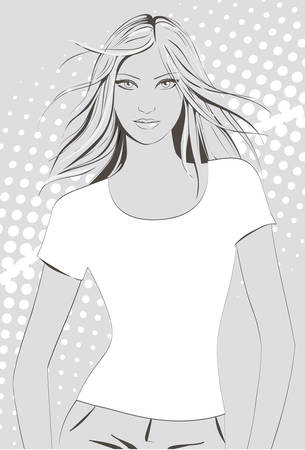 Girl in t-shirt 向量圖像