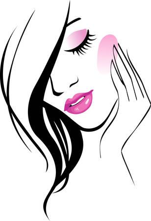 gezicht: Vrouwelijke pictogram  Stock Illustratie