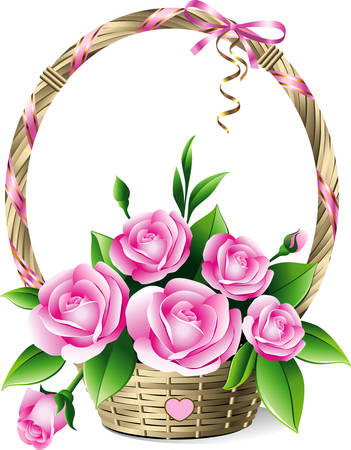 Basket with roses Vector