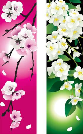 花のバナー  イラスト・ベクター素材