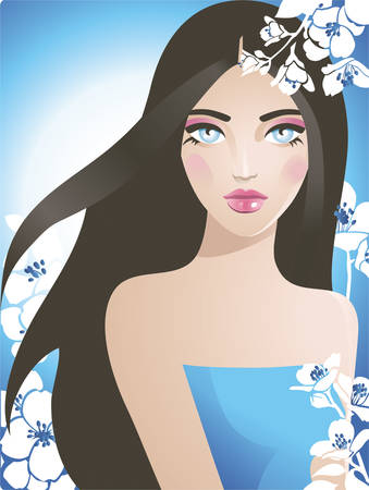 jasmin: Girl with flowers Illustration