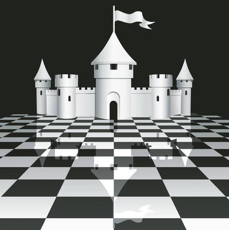 チェス盤の上に城  イラスト・ベクター素材