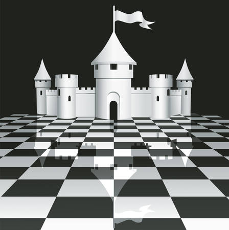 bollwerk: Schloss auf Schachbrett Illustration