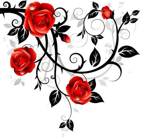Soprammobile con rose  Vettoriali