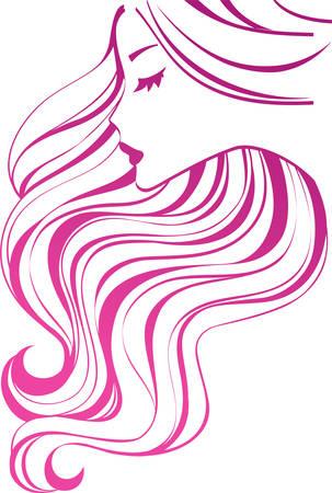 Meisje met lange haren  Vector Illustratie