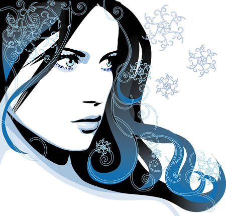 blue hair: Winter girl Illustration