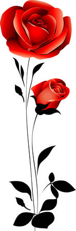 줄기: 빨간 장미 일러스트
