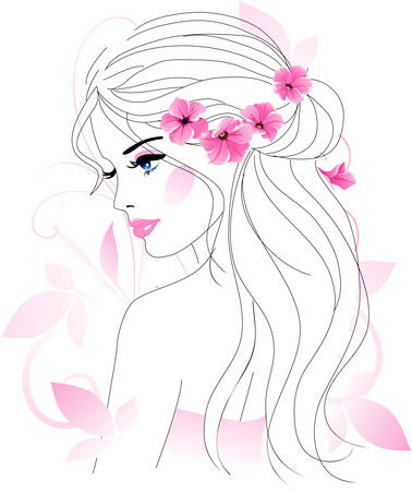 hair design salon: Woman with flowers