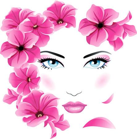 美しい女性の花を持つ  イラスト・ベクター素材