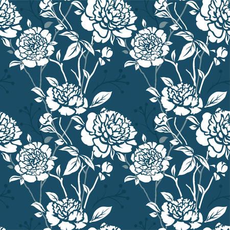 花を持つ Seamles パターン  イラスト・ベクター素材