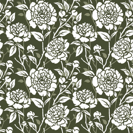 tree peony: Seamless pattern with flowers