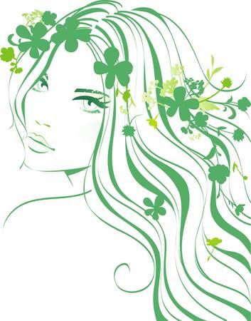花の少女  イラスト・ベクター素材