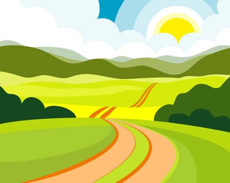 Summer road 向量圖像