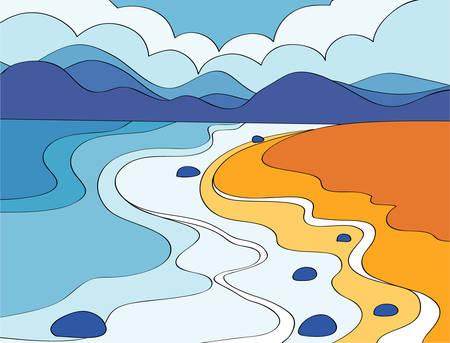 hill range: Beach Illustration