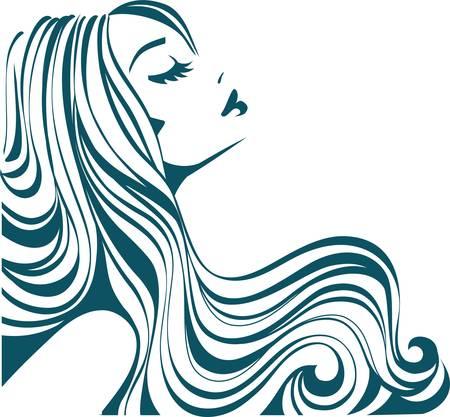 Ragazza con i capelli lunghi Vettoriali
