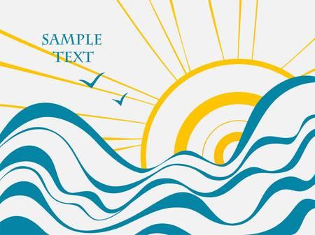 vague ocean: Mer et du soleil Illustration