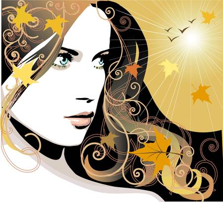 Autumn girl Иллюстрация