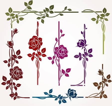 różaniec: Zestaw kwiatowy elementów Ilustracja