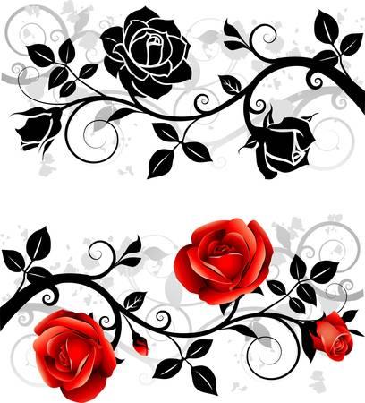 Ornamento con rosa Vettoriali