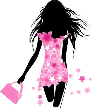meisje silhouet: Meisje mode Stock Illustratie