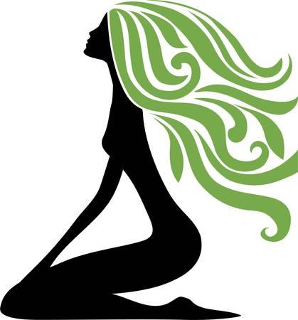 cabello largo y hermoso: Ni�a s�mbolo Vectores