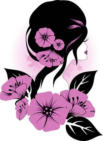 花を持つ女性  イラスト・ベクター素材