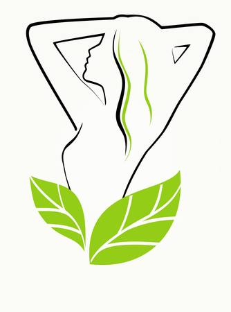 slim women: Girl with leaves Illustration