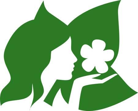 Girl floral 向量圖像