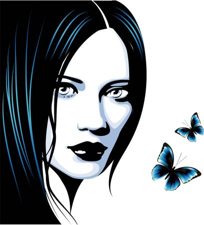 black hair blue eyes: Girl  Illustration