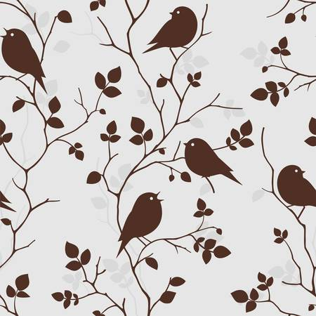 song bird: Wallpaper with birds  Seamless pattern