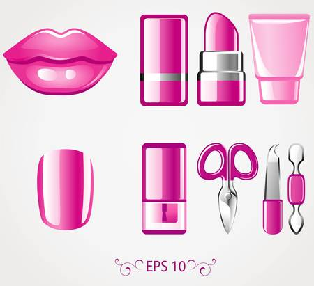 pedicure set: Lip and nail icons Illustration