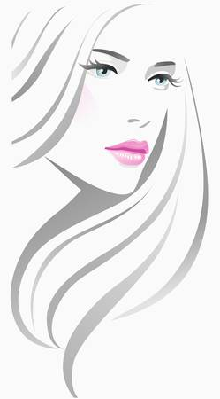 beautiful girl face: Girl fashion Illustration