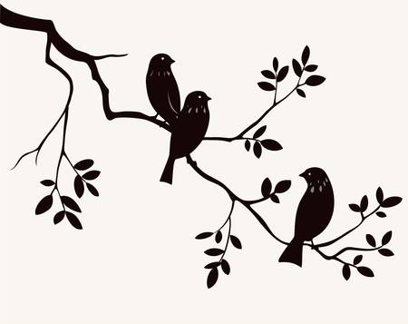 Birds on twig  Иллюстрация