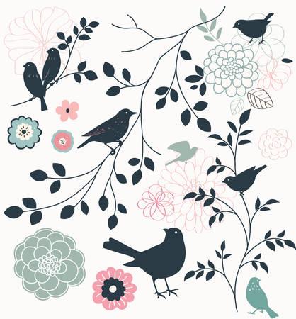 鳥、花、小枝