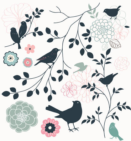 Birds, flowers and twigs Ilustrace