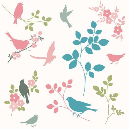 bandada pajaros: Pájaros y ramas