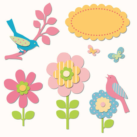 applique flower: Birds and flowers collection Illustration