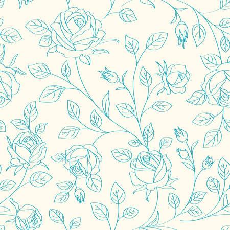 バラとパターン  イラスト・ベクター素材