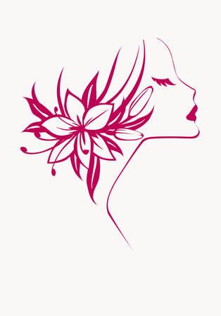 花を持つ少女  イラスト・ベクター素材