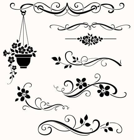 Conjunto de elementos florales caligráficos. Vector ramitas y flores decorativas