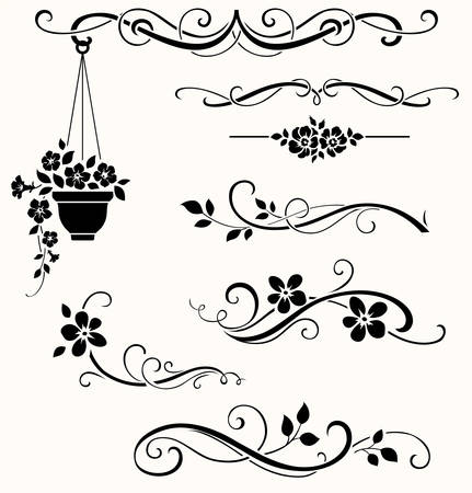 calligraphic: Set of calligraphic floral elements. Vector decorative twigs and flowers