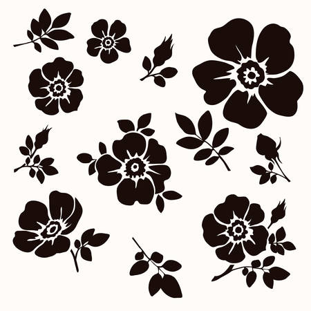 Vector set of decorative flowers and leaves. Silhouette Illustration